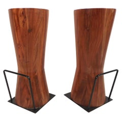 Pair of Butcher Block Style Bar or Counter Stools