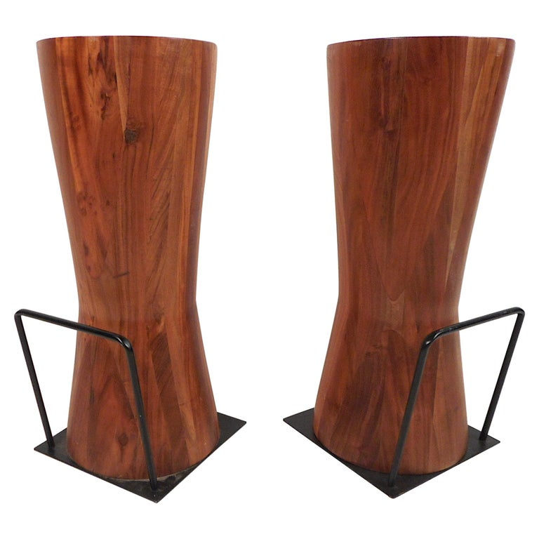 Pair of Butcher Block Style Bar or Counter Stools For Sale