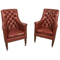 Pair of Buttoned Leather Library Armchairs