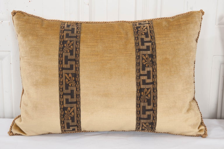 Gilt Pair of B.Viz Design Antique Textile Pillows For Sale