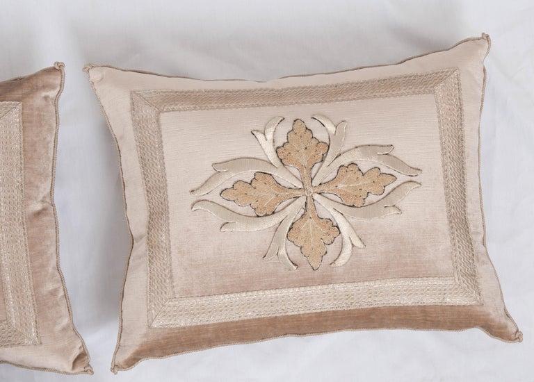 Gilt Pair of B. Viz Design Antique Textile Pillows For Sale