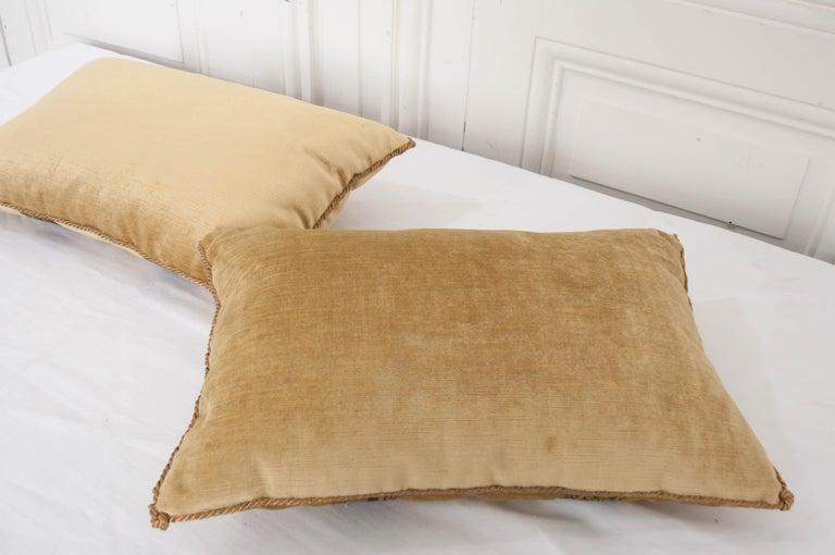 Velvet Pair of B.Viz Design Antique Textile Pillows For Sale