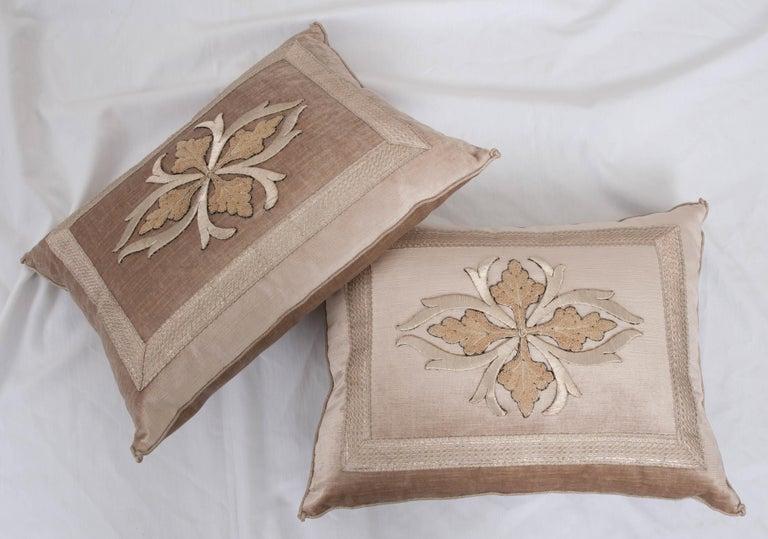 Pair of B. Viz Design Antique Textile Pillows For Sale 1