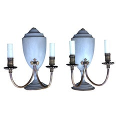 Pair of circa 1900 Wood Urn Brass Two-Arm Sconces, Custom Finish
