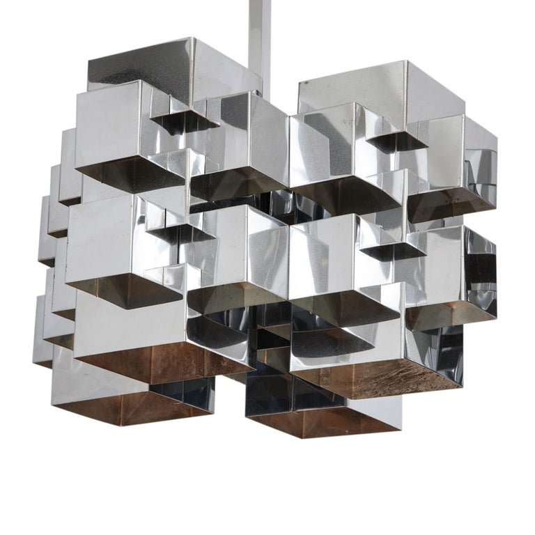C. Jere Cubist Chandeliers, Chrome Steel For Sale 3