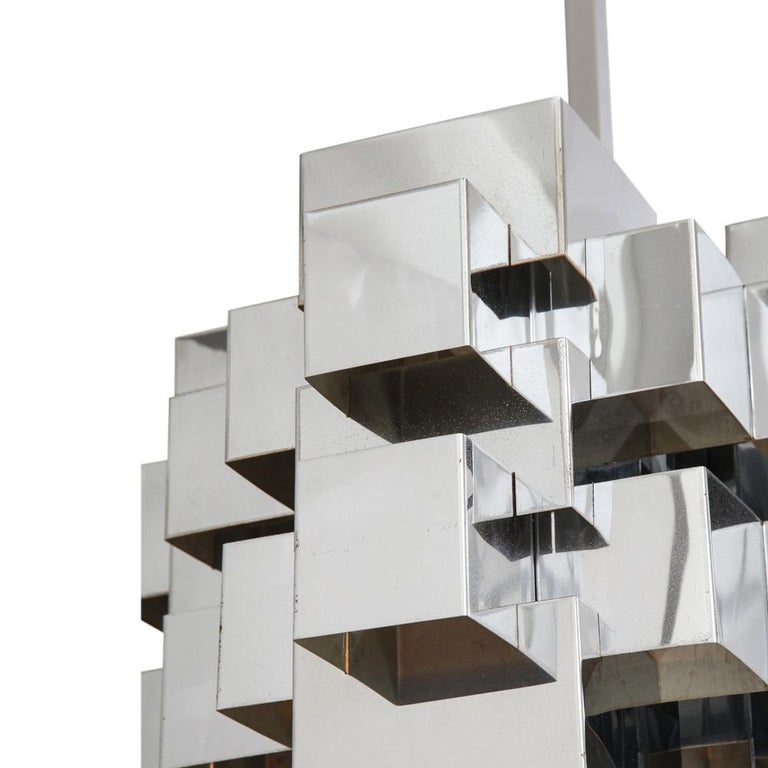 C. Jere Cubist Chandeliers, Chrome Steel For Sale 4