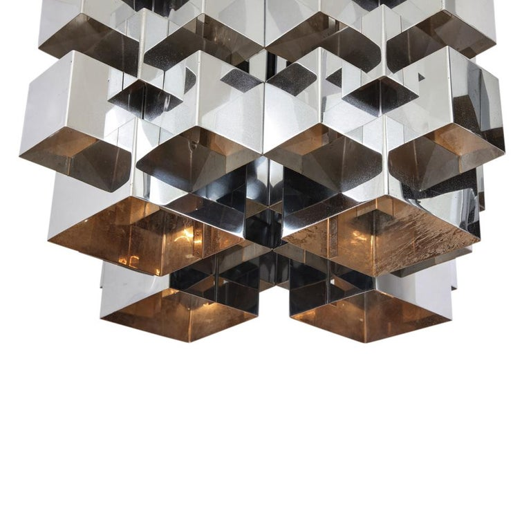 C. Jere Cubist Chandeliers, Chrome Steel For Sale 5