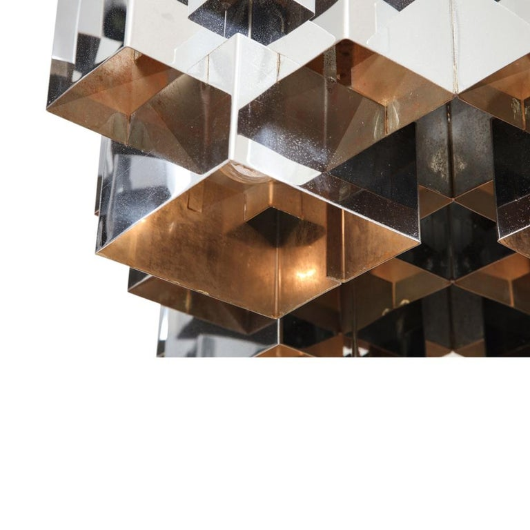 C. Jere Cubist Chandeliers, Chrome Steel For Sale 6