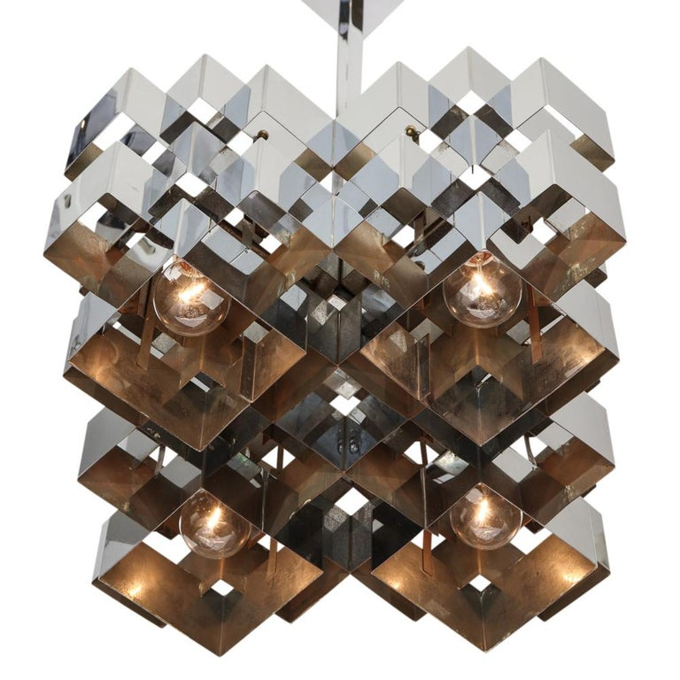 C. Jere Cubist Chandeliers, Chrome Steel For Sale 7