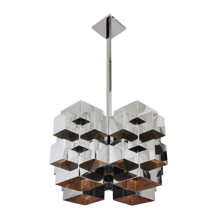 C. Jere Cubist Chandeliers, Chrome Steel For Sale 8
