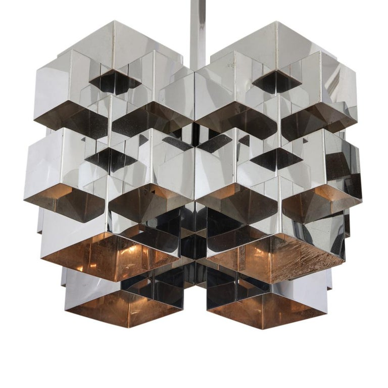 C. Jere Cubist Chandeliers, Chrome Steel For Sale 9