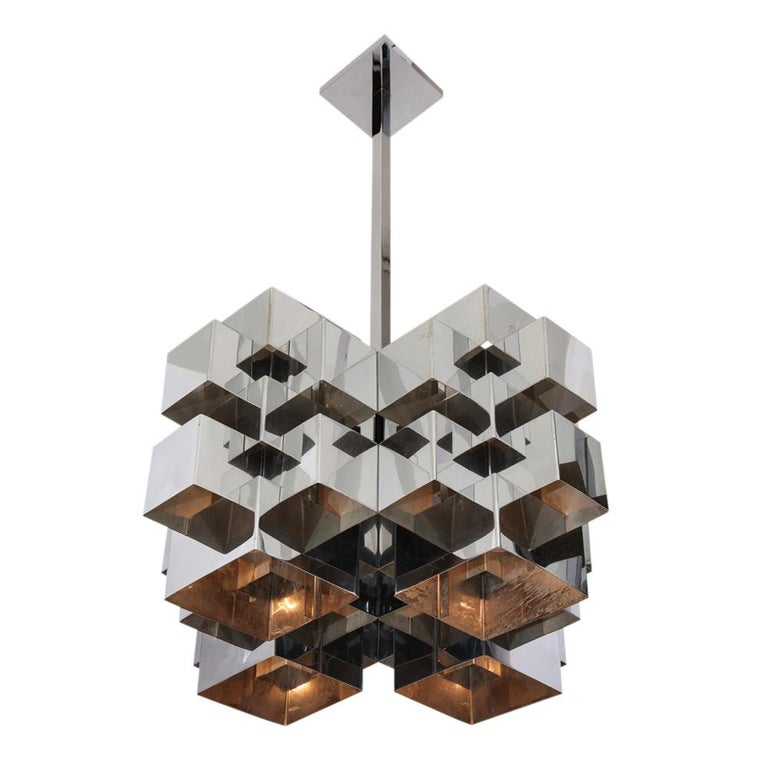 C. Jere Cubist Chandeliers, Chrome Steel For Sale 10