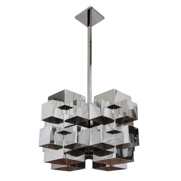 C. Jere Cubist Chandeliers, Chrome Steel For Sale 11
