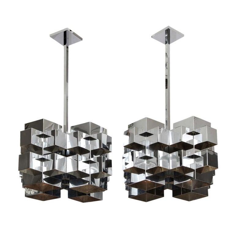 Mid-Century Modern C. Jere Cubist Chandeliers, Chrome Steel For Sale