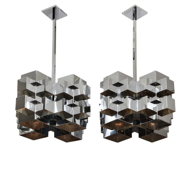 American C. Jere Cubist Chandeliers, Chrome Steel For Sale
