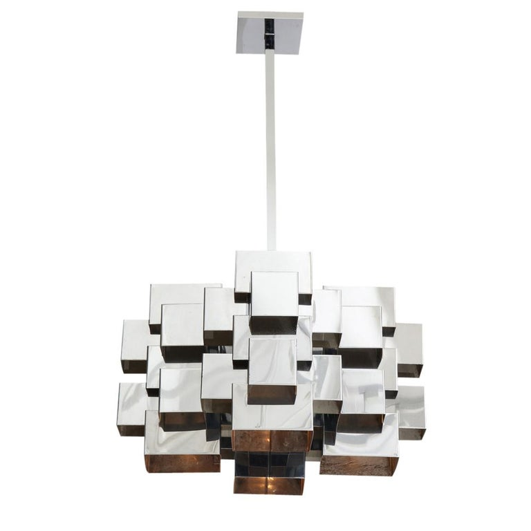C. Jere Cubist Chandeliers, Chrome Steel In Good Condition For Sale In New York, NY