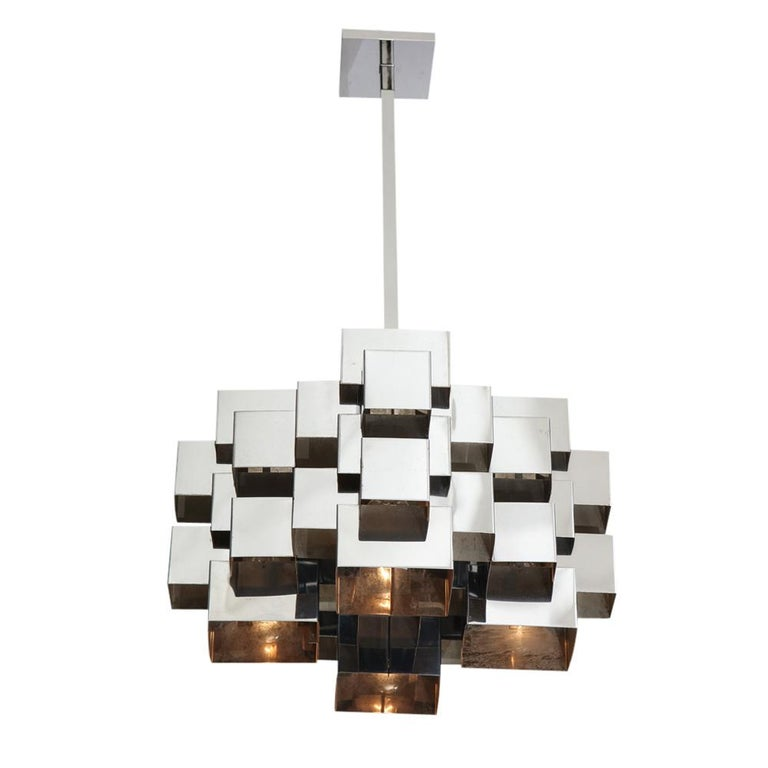 Late 20th Century C. Jere Cubist Chandeliers, Chrome Steel For Sale