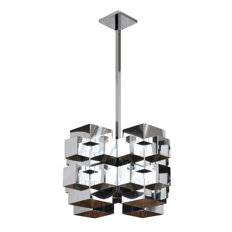 C. Jere Cubist Chandeliers, Chrome Steel For Sale 1