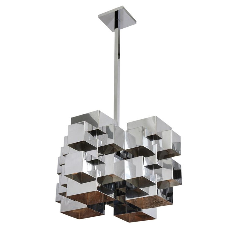 C. Jere Cubist Chandeliers, Chrome Steel For Sale 2