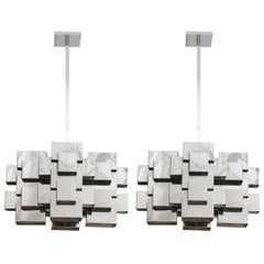 Pair of C. Jere Chandeliers Nickel Chrome Cubist, USA, 1970s