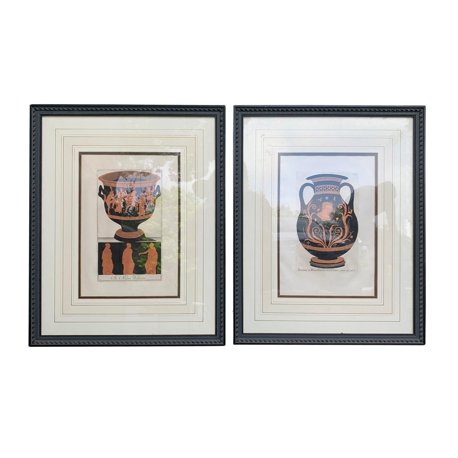 Pair of English Prints of Greek/Etruscan Vases by Sir William Hamilton