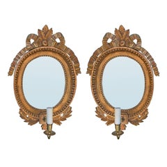 Pair of circa 1800 Swedish Gilt Mirrored Sconces, One Light