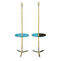 Pair of Brass Faux Bamboo and Glass Table Floor Lamps, circa 1970s