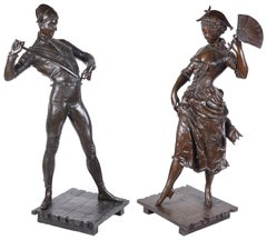 Pair of 19th Century Bronze Harlequin and Columbine Statues by P. Dubois