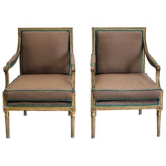 Pair of 19th Century Country House Fauteuils Reupholstered in Silk