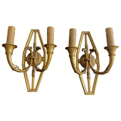 Pair of 19th Century French Gilt Bronze Wall Sconces
