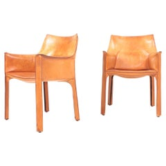 """Pair of """"CAB"""" Armchairs in Patinated Leather by Mario Bellini, 1970s"""