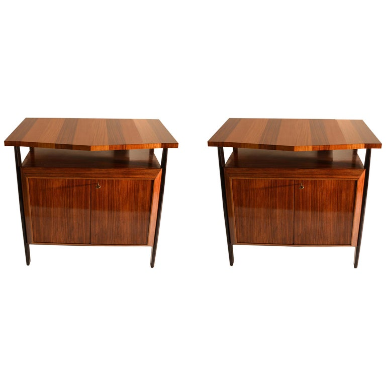 Pair of Cabinets in Blond & Palisander Veneers Attributed to Ico Parisi 1955 For Sale