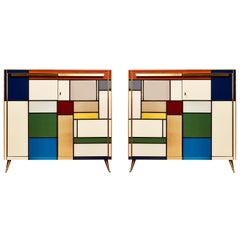 """Pair of Cabinets """"Mondrian Tribute"""" in Tainted Glass by Studio Glustin"""