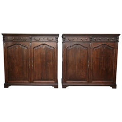 Pair of Cabinets or Cupboards Made of Oak