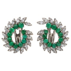 Pair of Cabochon Emerald and Diamond 18 Karat White Gold Swirl Clip Earrings