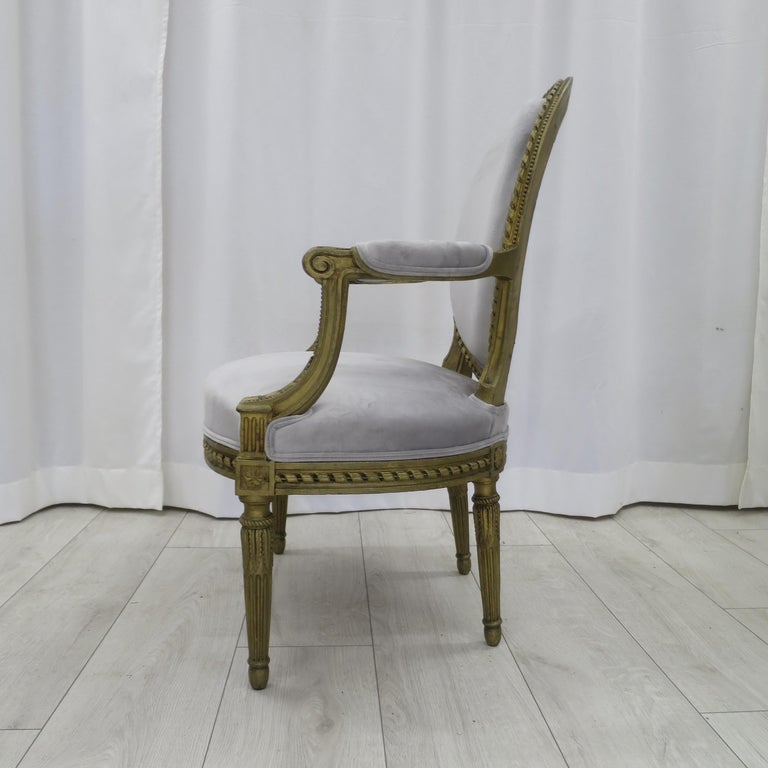 European Pair of Cabriolet Armchairs in Giltwood 19th Century Style Louis XVI For Sale