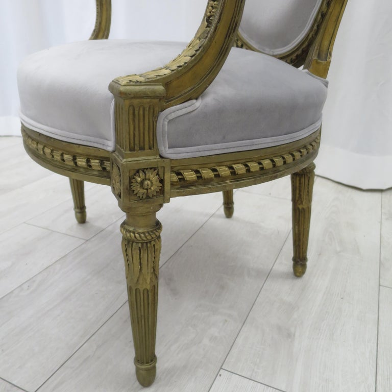 Pair of Cabriolet Armchairs in Giltwood 19th Century Style Louis XVI For Sale 1