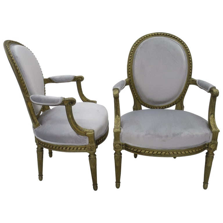 Pair of Cabriolet Armchairs in Giltwood 19th Century Style Louis XVI For Sale