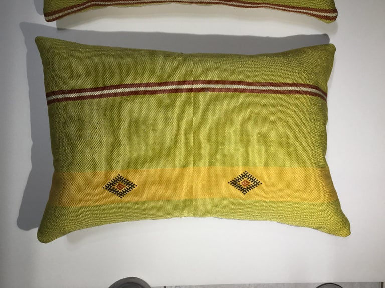 Cotton Pair of Cactus Silk Pillows For Sale