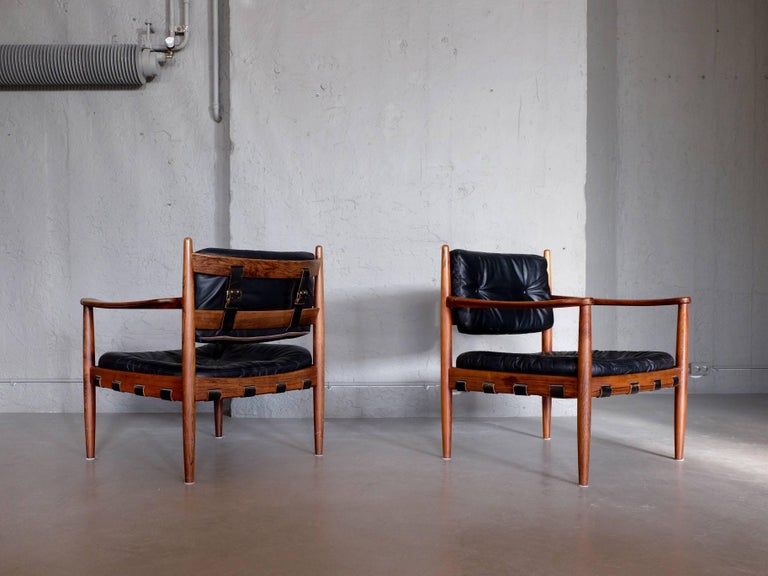 Rosewood Pair of Cadett Easy Chairs by Eric Merthen, Sweden, 1960s For Sale