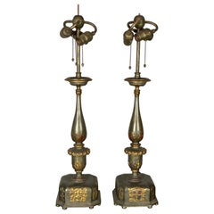 Pair of Caldwell Pewter and Bronze Table Lamps