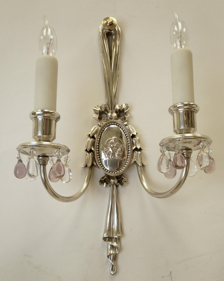 Pair of Caldwell Silver Plated Two Light Neoclassical Style Sconces For Sale 2
