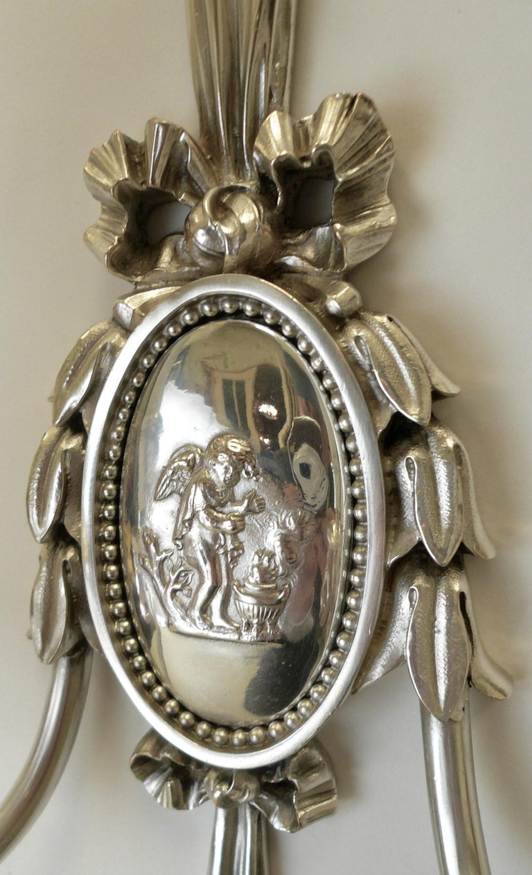 Louis XVI Pair of Caldwell Silver Plated Two Light Neoclassical Style Sconces For Sale