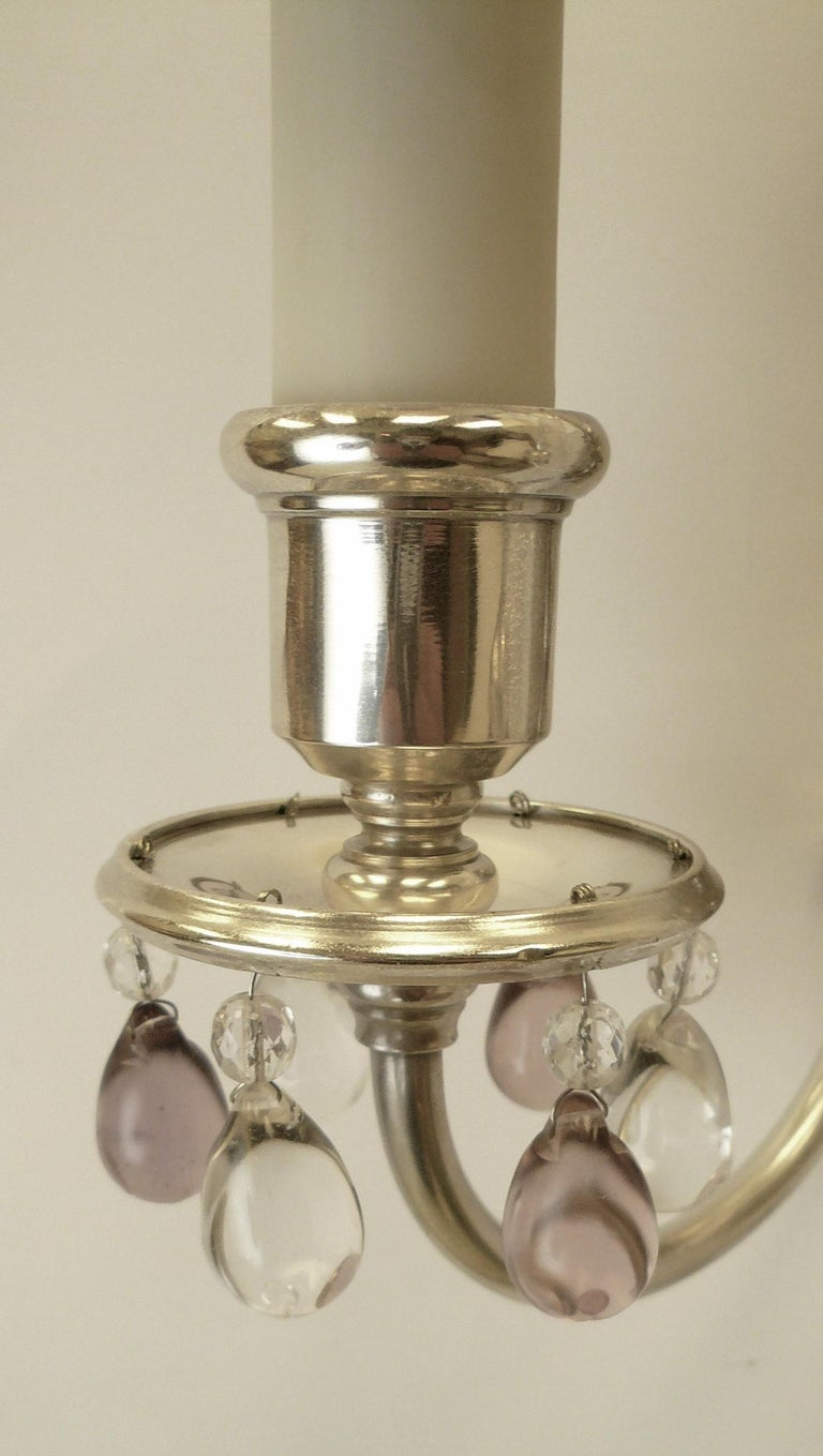 Silvered Pair of Caldwell Silver Plated Two Light Neoclassical Style Sconces For Sale