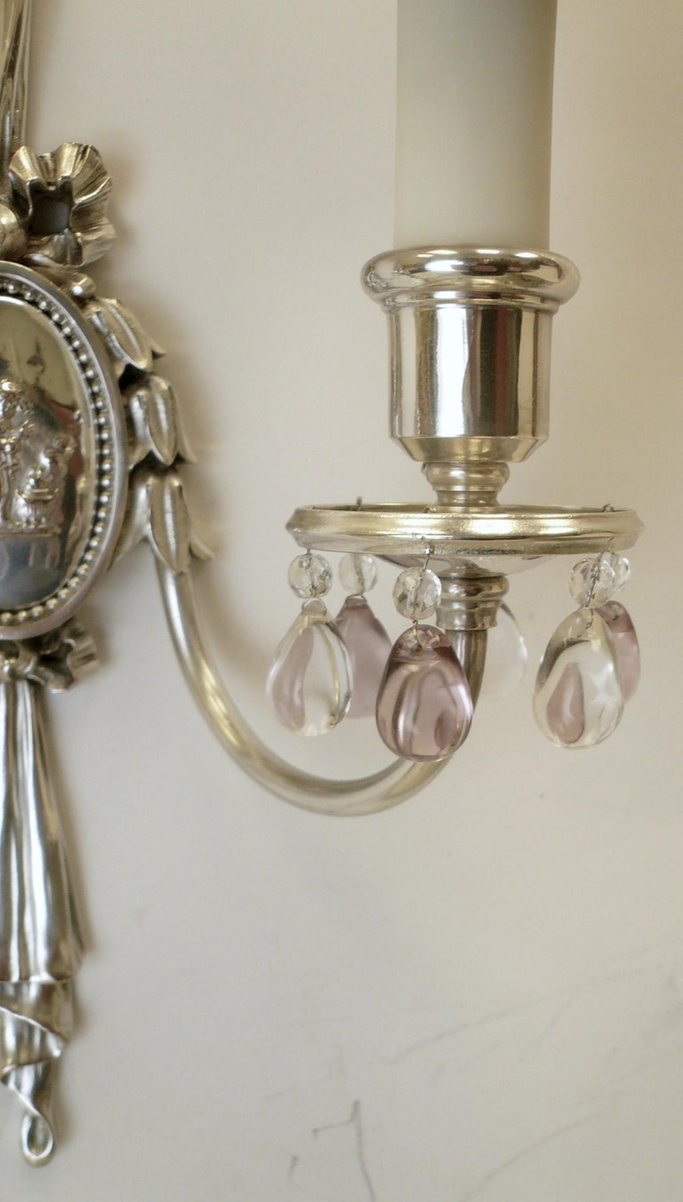 Pair of Caldwell Silver Plated Two Light Neoclassical Style Sconces In Excellent Condition For Sale In Pittsburgh, PA