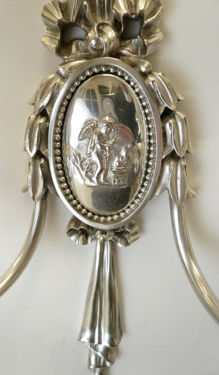 20th Century Pair of Caldwell Silver Plated Two Light Neoclassical Style Sconces For Sale