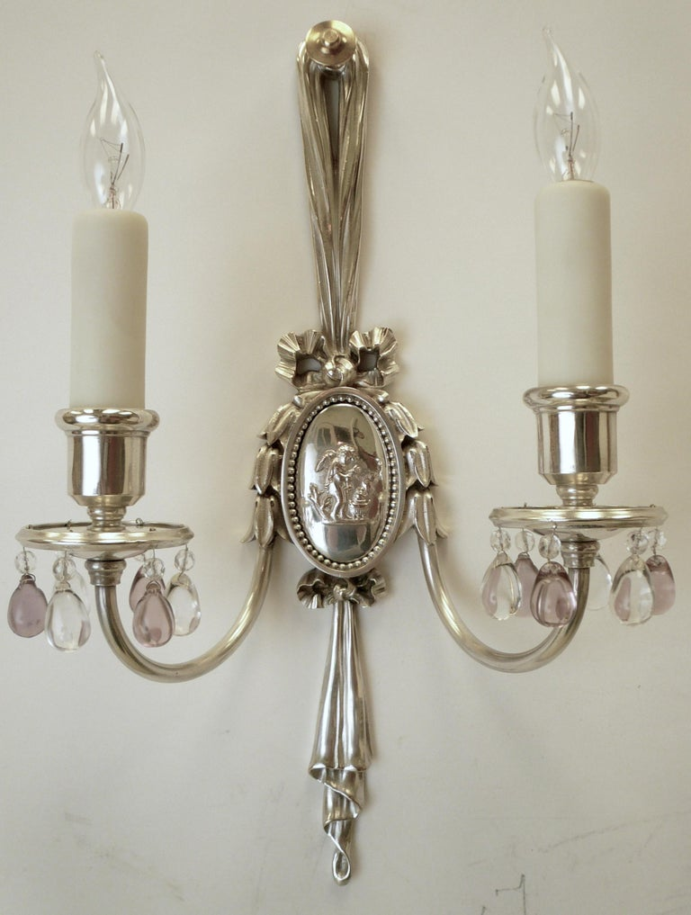 Bronze Pair of Caldwell Silver Plated Two Light Neoclassical Style Sconces For Sale