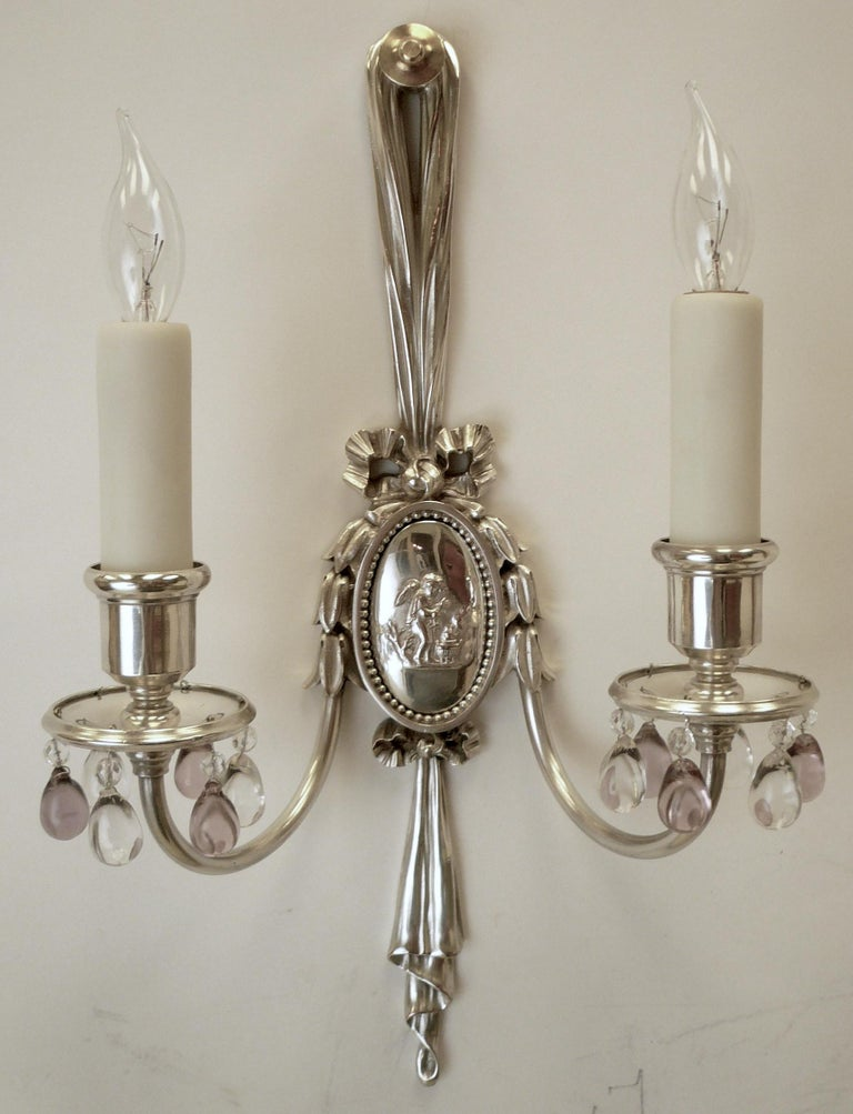 Pair of Caldwell Silver Plated Two Light Neoclassical Style Sconces For Sale 1