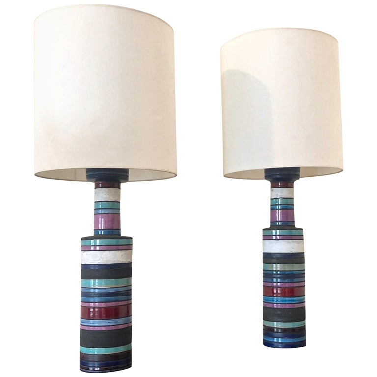 """Pair of """"Cambogia"""" Table Lamps by Aldo Londi for Bitossi, Raymor, Italy, 1950s For Sale"""