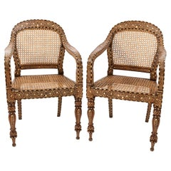 Pair of Camel Bone Open Armchairs